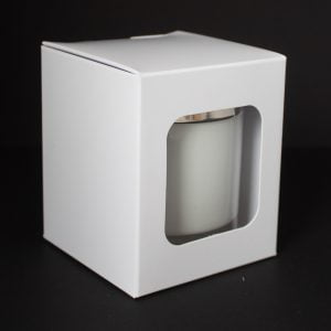 20cl White candle box with a web top and window