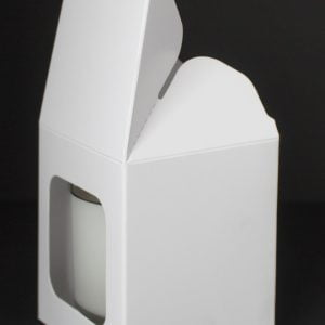 30cl White candle box with a web top and window