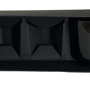 400gsm ultra Matt Black votive candle box to fit 3 x 9cl candles horizontally.