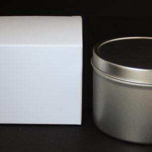 White candle/gift box 80mm(W) x 80mm(D) x 60mm(H) made from a 380gsm White folding box board.