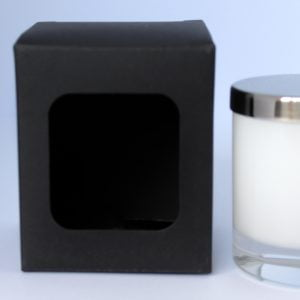 20cl 460gsm ultra Matt Black candle box with a web top and window