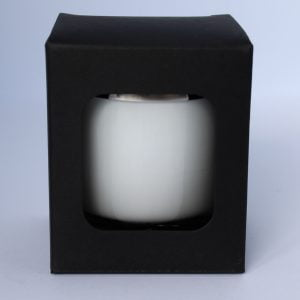 30cl Matt Black candle box with a web top and window.