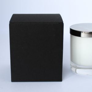 Traditional 30cl Matt Black candle box with envelope base made from a 400gsm board.