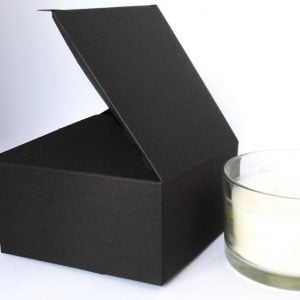 50cl Matt Black candle box with a web top made from a 400gsm fsc certified board.