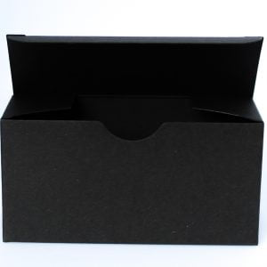 Matt Black gift box 130mm(W) x 50mm(D) x 65mm(H) made from a 400gsm Black board.