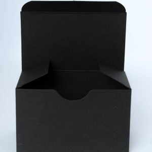 Matt Black gift box 100mm(W) x 60mm(D) x 60mm(H) made from a 400gsm board.