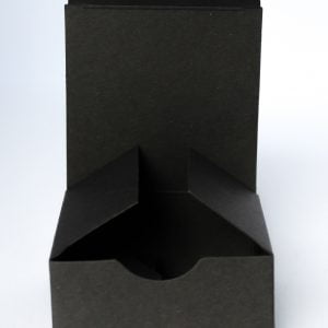 Matt Black gift box 75mm(W) x 75mm(D) x 35mm(H) made from a 400gsm Black board.