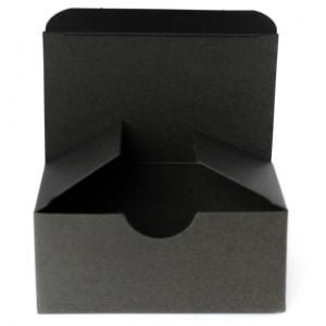 Matt Black gift box 92mm(W) x 56mm(D) x 40MM(H) made from a 400gsm Black board.