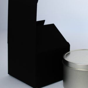 Black candle/gift box 80mm(W) x 80mm(D) x 60mm(H) made from a 400gsm Matt Black board.