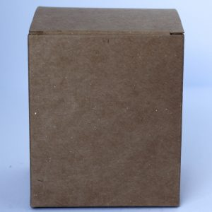 Traditional 30cl Kraft candle box with envelope base made from a 450gsm Custom Kote box board.