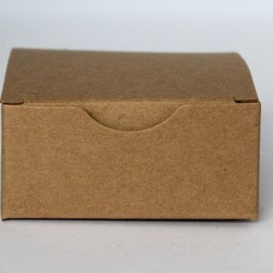 Kraft gift box 75mm(W) x 75mm(D) x 35mm(H) made from a 350gsm 100% recycled board.