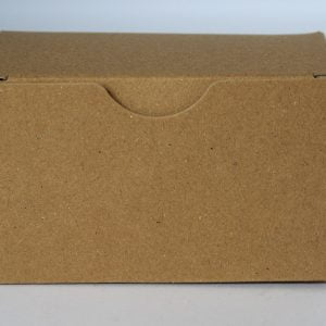 Kraft gift box 100mm(W) x 60mm(D) x 60mm(H) made from a 350gsm 100% recycled board.