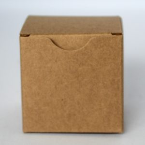 Kraft gift box 60mm(W) x 60mm(D) x 60MM(H) made from a 350gsm 100% recycled board.
