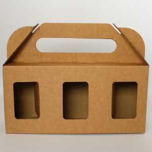 Corrugated Kraft carry boxes designed for 3 x Hexagonal Glass jars with windows.