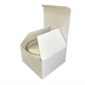50cl White triple wick candle box.