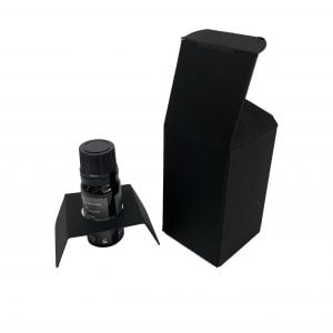 10ml essential oil box with fitment and web top and envelope base in black