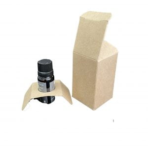 10ml Kraft essential oil box with fitment and web top and envelope base.