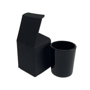 9cl Black candle box with a web top and envelope base.