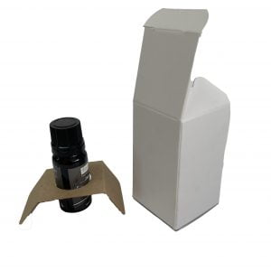 10ml essential oil box with fitment and web top made from a White FSC certified 380gsm folding box board.